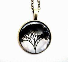 "Black & White Tree Of Life Pendant On 22"" Antique Bronze Finish Chain New"