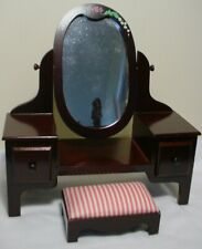 "Muffy Bear Wood Vanity Doll Dresser 10""x10"" Bench & Mirror by Nabco has Drawers"