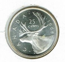 1965 Canadian Brilliant Uncirculated Proof Like Silver Caribou 25 Cent Coin