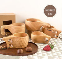 Chic Wood Coffee Cup Vintage Wooden Milk Drinking Cup Portable Mug Creative Gift