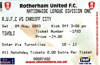 Ticket - Rotherham United v Cardiff City 09.08.03