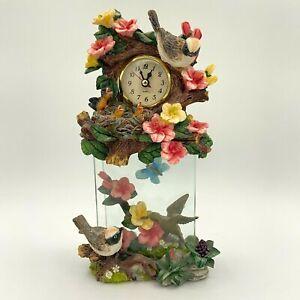 VTG Prestige Chalkware Hummingbird & Florals Butterfly Pendulum Clock - Works