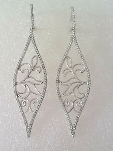 Exquisite White Stones Micro-setting Long Drop Earrings 925 solid silver #1197