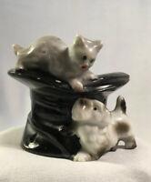 VTG Ceramic Dog Cat Top Hat  Vase Figurine | Japan