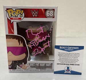 Bret HITMAN Hart Signed Autographed WWE FUNKO POP Hall of Fame BECKETT COA 30