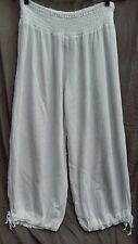 WHITE swimsuit cover up Beach holiday crepe crop capri pant 14 Harem drawstring
