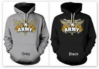 US Army Hoodie Sweatshirt Army Star Design Black or Grey Unisex Pullover