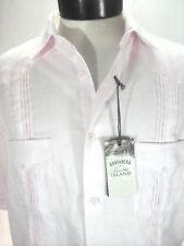 3e6109ba8e42 Guayabera Tasso ELBA Pink 4 Pocket Button Front Cuban Shirt Men s M
