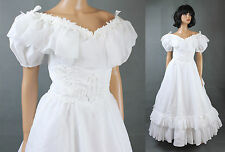 Vintage Wedding Gown XS White Chiffon Short Sleeve Southern Belle Dress Train