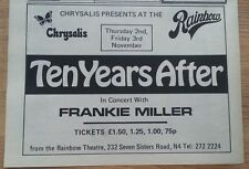 TEN YEARS AFTER / FRANKIE MILLER @ The Rainbow 1972 UK Press ADVERT 12X8 inches