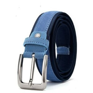 Leather Belt Suede Men Strap Genuine Luxury Pin Buckle Blue Made Oxford Fabric