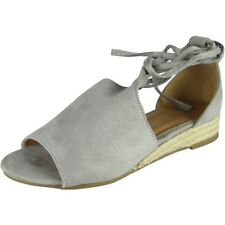 Womens Peeptoe Wedges Ladies Espadrilles Tie Up Comfy Low Heel Wegde Shoes Size