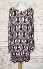 Wallis tunic dress size M 12-14 long sleeves a-line black/brown print jersey