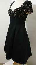 VICTOR COSTA Black Empire Waist Bubble Dress Embroidered Bodice Crinoline NWOT
