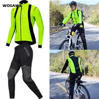 Men's Winter Cycling Sets Thermal Windproof Bike Ride Jacket Pants Coat Trousers