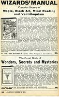 1935 Print Ad of The Wizards Manual, Wonders Secrets & Mysteries magic black art