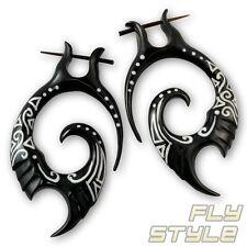 Carved Organic Horn Bone Tribal Earrings stirrup stick hanger piercing wood fake
