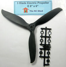 """RC Airplane Electric Propeller 3 Blade 8"""" x """"6E with Adapters"""