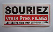5  stickers adhesif  VIDEO SURVEILLANCE format 19 x 9  souriez vous etes filmés