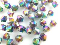 Wholesale 100pcs Glass Crystal Faceted Bicone Loose Spacer Beads Findings 4mm