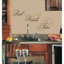 Quote: GOOD FOOD FRIENDS TIMES wall stickers 8 decals inspirational black & gold