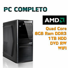 PC FISSO COMPUTER DESKTOP ASSEMBLATO AMD QUAD CORE RAM 8GB HDD 1TB WIFI DVD-RW