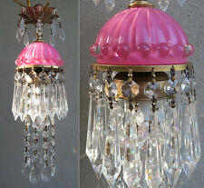 SWAG lamp chandelier Vintage Pink Lady cupcake beaded glass crystal prism Brass