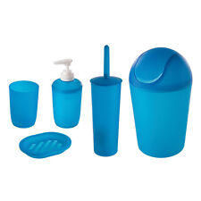 Set bagno 5 pezzi in pratica plastica blu trasparente arredo bagno moderno