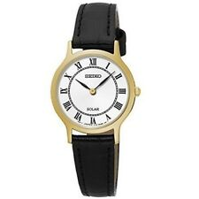 Seiko SUP304 P1 Gold Case with White Dial Black Strap Women's Solar Analog Watch