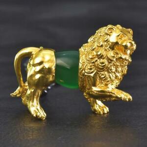Gold Vermeil Sterling Lion Design Necklace Green Chalcedony Gemstone 24.57 g