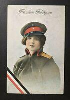 1916 WWI Germany Feldpost Froulein Feldgrau Illustrated Postcard Cover