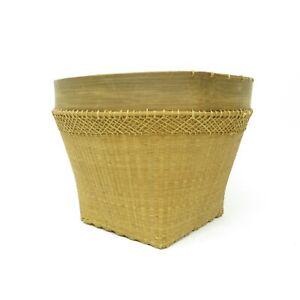 Vtg Large Boho Woven Rattan Wicker FARM HOUSE GATHERING Laundry Basket