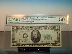 1950 A $20 STAR * PMG Graded Richmond SCARCE Note AU 50 Priest Humphrey FR2060E*