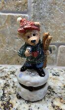"""Boyds Bear Bearware Pottery """"Skier"""" Bear With Baby Bear Trinket Box Euc"""