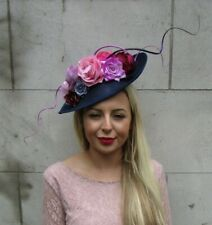 Large Navy Blue Pink Purple Flower Teardrop Fascinator Hat Hair Headband 7242