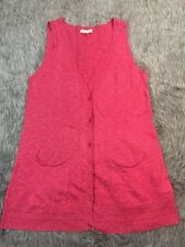 Eileen Fisher Small Cotton Linen Vest Pink Cardigan Pockets Button Layering Chic