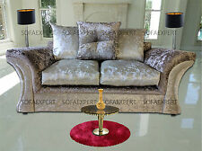 VEGAS 3,2 BROWN CRUSHED VELVET MINK SEATER ENGLISH SOFA SETTEE COUCH