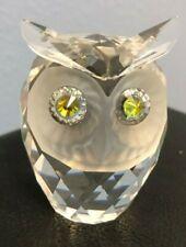 Vtg 1979 Swarovski Silver Crystal Figurine Owl 7636 046 Green Yellow Eyes Mint