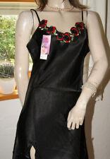 Neu! Strahlendschönes Polyester Satin Negligee * Nachtkleid schwarz Rosen M/L