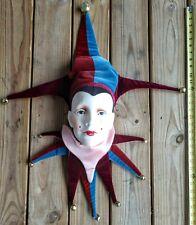 Joker Ceramic Handmade Jester Clown Mask Head Mardi Gras Wall Art Damaged