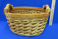 """Woven Wicker Straw Basket Lacquered 2 Wooden Handles & Wood Edge 8"""" Oval"""