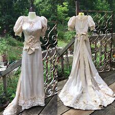 ANTIQUE Victorian Edwardian Ivory Silk Wedding Gown Bustle dress Museum piece
