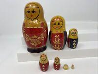 Vintage Russian Nesting Dolls Straw Inlaid 12 Pc Wood Decor Handmade