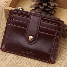Women Genuine Leather Slim Wallet ID Credit Card Holder Zipper Coin Pocket Purse