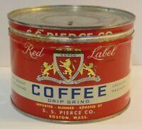 Old Vintage 1950s SS PIERCE RED LABEL COFFEE TIN ONE POUND BOSTON MASSACHUSETTS
