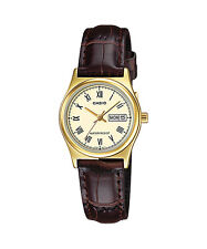 Casio Women's Brown Leather Strap Watch, Yellow Dial, Day/Date, LTP-V006GL-9B