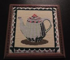 Completed Needlepoint Tea Pot Coffee Pot Framed Ready to Hang