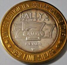 Casino Silver Strike Bally's Las Vegas Nevada .999 Silver $10 Gaming Token
