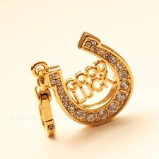 Juicy Couture Gold Good Luck Horseshoe Charm  Rhinestones Dog Collar Charm