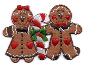 GINGERBREAD COUPLE Iron On Patch Christmas Baking Holidays